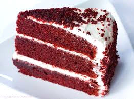 Red velvet booklet cake slice