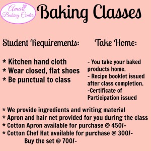 Amari Baking Classes-Take home n Requirements poster June 2017