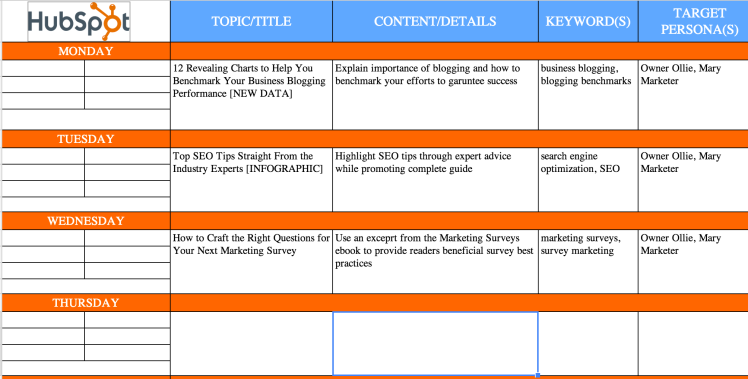 hubspot content calendar planner