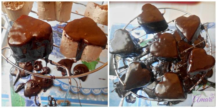 Pour the Chocolate ganache on the mini cakes