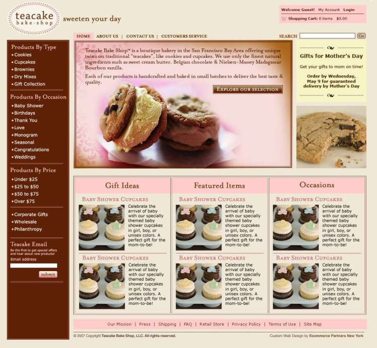 tea cake bakery online cart system ex