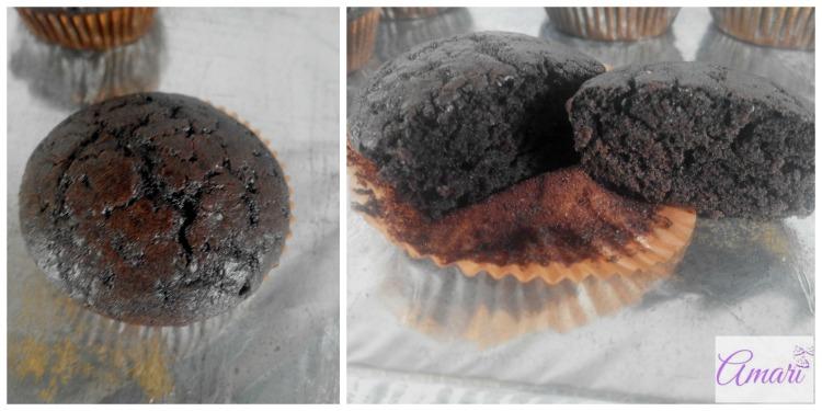 Dark chocolate cupcake plain and sliced pictorial - Amari WM