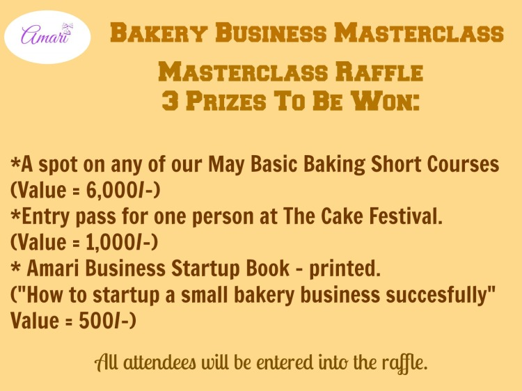 Amari May Masterclass Raffle Prizes to be won