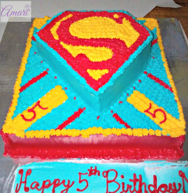 Superman Buttercream cake with name_Amari blog recipe