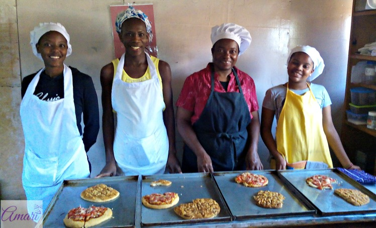 Amari bread students with their pizza n cheese sticks-Bread class