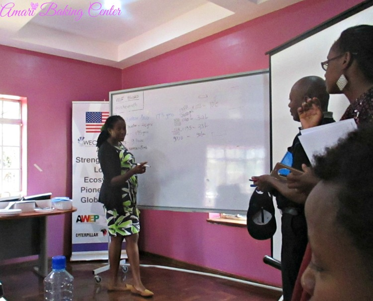 Ruth helping out with costing-Amari March 2017 masterclass