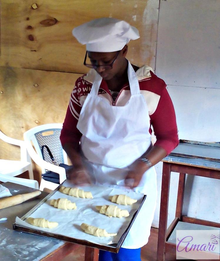 Student Belinda preparing Croissants