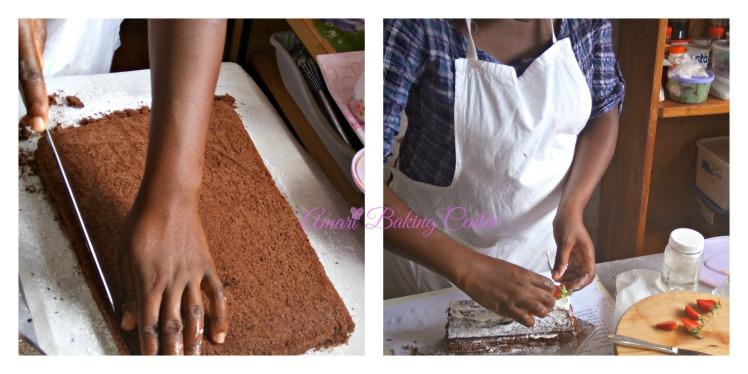 Maggie Choc swiss roll pictorial - Amari Advanced cake class Feb 2017