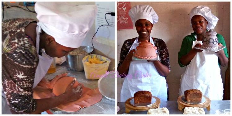 Pot making Bertha n Maggie-Amari Advanced Cake making class Feb 2017