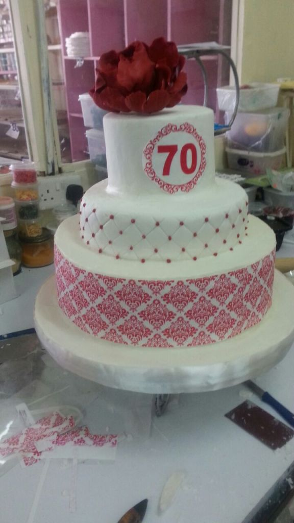 3-Tier Cake 70Bday-Cake World Kenya