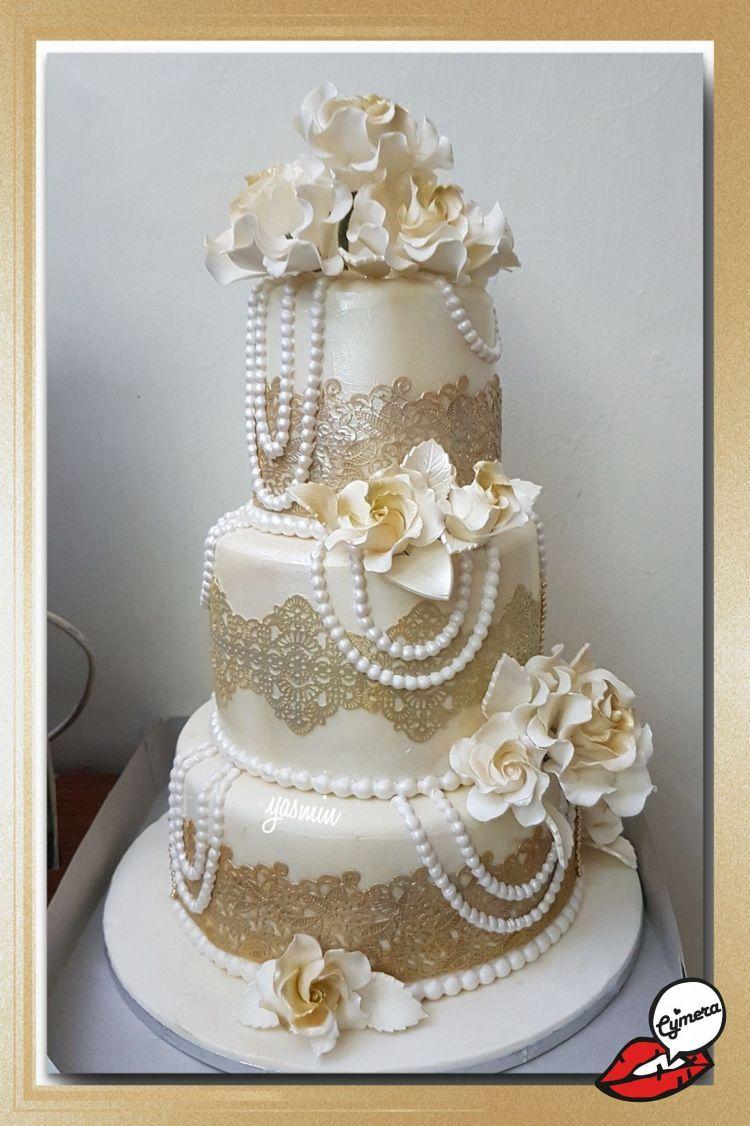 3tier wedding pearl cake by Yasmin Harji