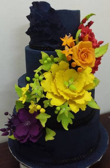 4tier blue colorful cake by Delilah - Dee Divine Cakes