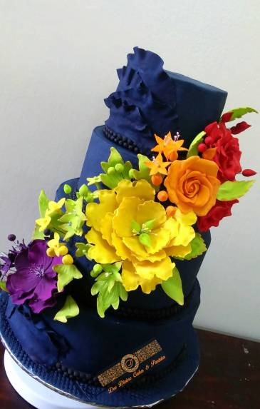 4tier blue colorful cake by Delilah Jill of Dee Divine cakes