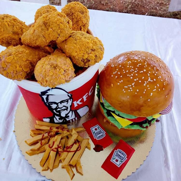 KFC Fries and burger cake by Binti of Tam Tams