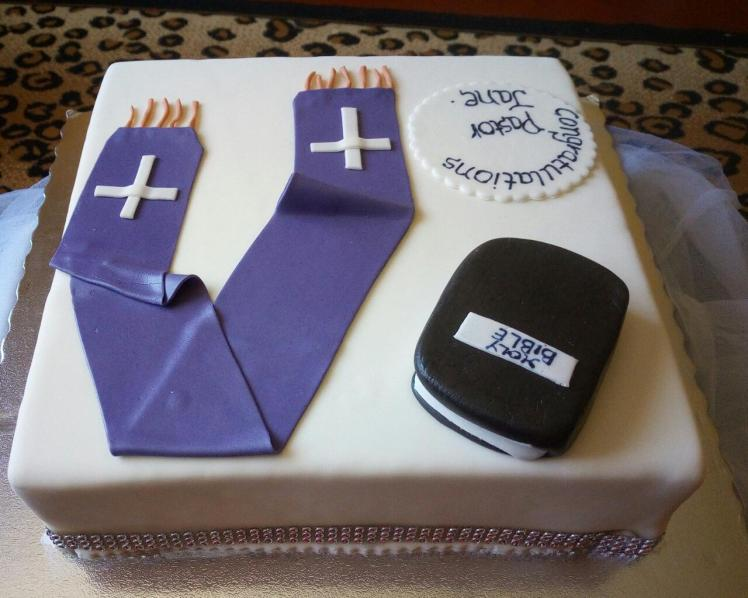 Side view of Pastor Church cake by Faith - Gifted Hands Bakery