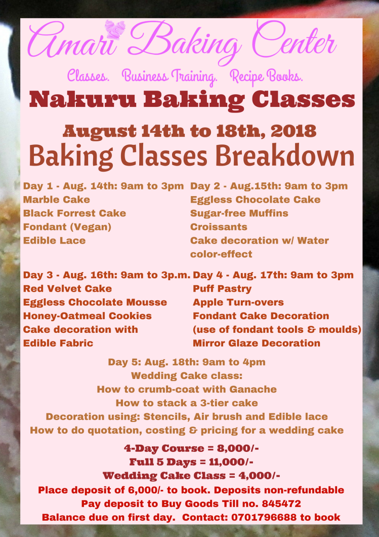 Amari Nakuru Classes 2018 Breakdown Poster