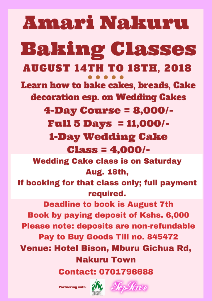 Amari Nakuru Classes in August 2018 Poster