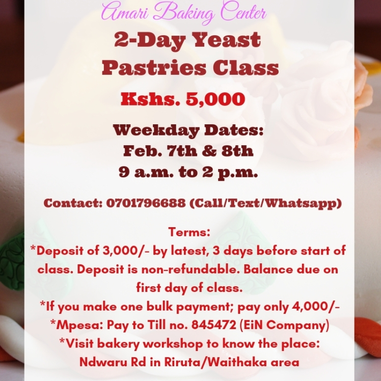 2-Day Amari Yeast Pastries Class Feb 2019 dates