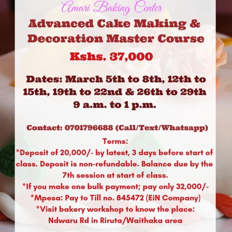 Amari Advanced Cake & Deco Course March 2019 dates