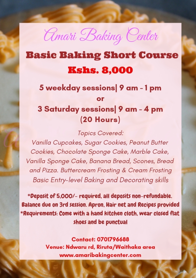 Amari Basic Baking Short Course 2019 Poster