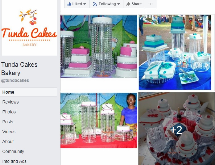Tunda cakes weddings screenshot FB page