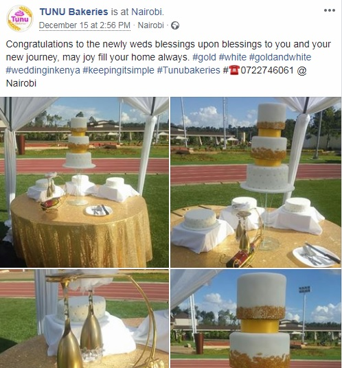 Tunu wedding cake post FB page