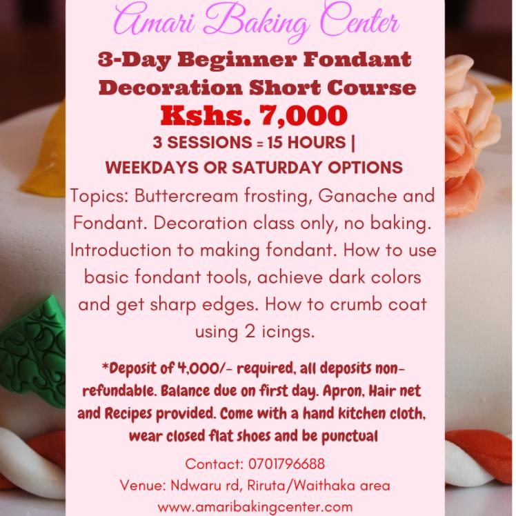 amari 3-day beginner fondant decoration short course sm poster
