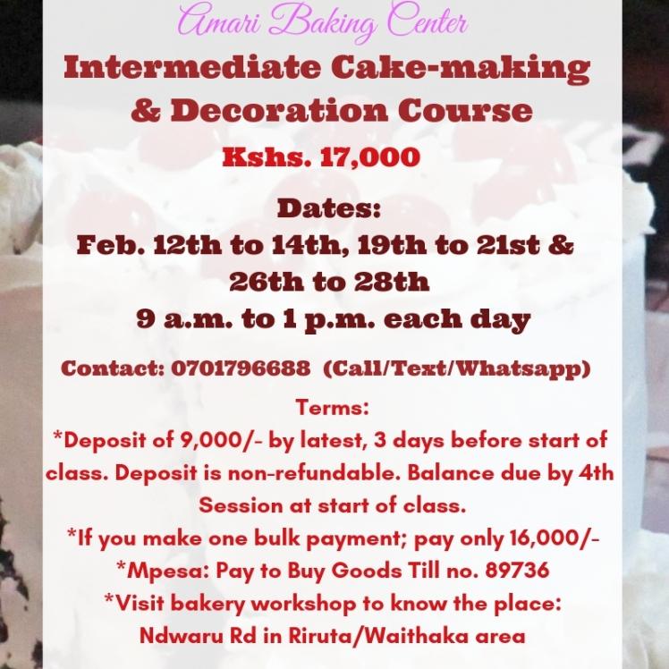 feb 2019 intermediate cake & deco course - amari weekday dates
