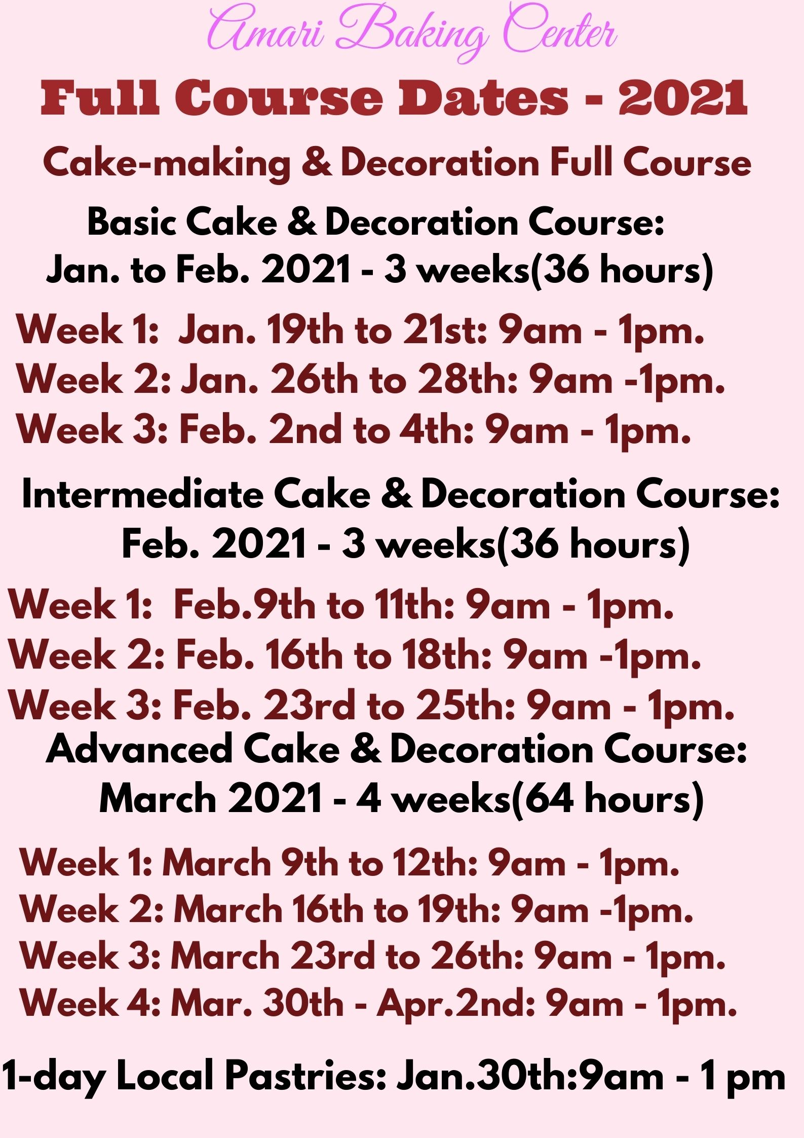 Cake and Deco Full Course dates - Jan to March 2021 Amari Baking Center